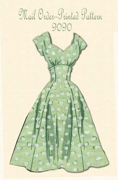 Your place to buy and sell all things handmade Vintage Mail Order Printed Pattern 9090 Princess Dress with Jacket Fashion Lace Dress Pattern, Vintage Dress Patterns, Clothing Patterns, Clothing Styles, Fashion Moda, 1950s Fashion, Look Fashion, Vintage Fashion, Fashion Women