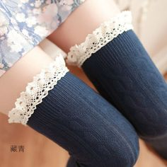 Women cotton lace over knee socks tube stocking