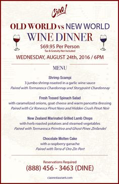 Come join us for our Old World vs New World Wine Dinner!