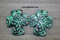 Paint Me Paisley Cross Clay Earrings in Turquoise $29.95 www.gugonline.com