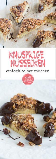 Leckere Nussecken: Knuspriger Boden, karamellisierter Belag, viele Nüsse und ein wenig Schokolade - fertig sind diese köstlichen Nussecken, die volles Potential zum Lieblingsgebäck haben!