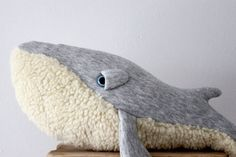 Handmade Plush- Whale Stuffed Animal - Cotton jersey and faux fur. **Made by order**
