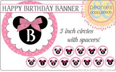 peonies and poppyseeds minnie mouse birthday circle banner copy free!