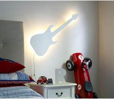 Guitar Lamp in White for boys room $79.95 by MiniStyle  Parker would love this!