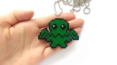 Cthulhu Necklace | Geeky Necklace / Fantasy Jewelry / Handmade Mini Hama, Perler Beads