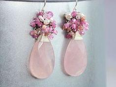Rose Quartz Earrings, Pink Gemstone Cluster Earring Silver, Pink Ruby Earring, Pink Topaz Earring, Pearl Earring, Rose Quartz Large Earrings