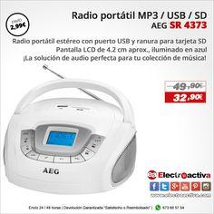 ¡La solución de audio perfecta para tu colección de música!  Radio portátil MP3/USB AEG SR 4373 https://www.electroactiva.com/aeg-radio-sd-usb-mp3-sr-4373-blanco.html #Elmejorprecio #Radio #MP3 #USB #Audio #Chollo #Electronica #PymesUnidas