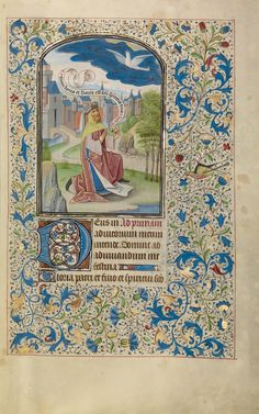 Solomon Praying to the Holy Spirit; Willem Vrelant (Flemish, died 1481, active 1454 - 1481); Bruges, Belgium; early 1460s; Tempera colors, gold leaf, and ink on parchment; Leaf: 25.6 x 17.3 cm (10 1/16 x 6 13/16 in.); Ms. Ludwig IX 8, fol. 20; J. Paul Getty Museum, Los Angeles, California