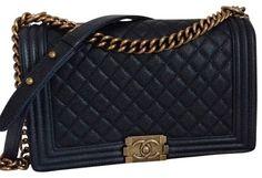 Chanel Medium Le Boy Caviar Navy Blue Cross Body Bag.