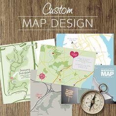 custom wedding map design and illustration - printable file. $50.00, via Etsy.