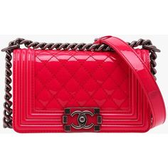 Pre-owned Chanel Small Fuchsia Patent Leather Boy with Ruthe ($3,564) ❤ liked on Polyvore featuring bags, handbags, pink, pink purse, patent handbags, chanel bags, pre owned handbags and patent leather handbags