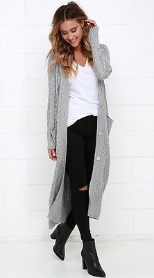 "LOVE STITCH Grey ""Milan Duster"" Cable Knit Long Maxi Cardigan Cashmere Blend"