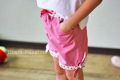 Girls shorts - tied hem. Tutorial with free pattern. One for little boys cargo pocket too. Really cute stuff to make.