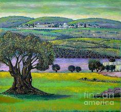Jerusalem Landscape, by Palestinian artist Nabil Anani, #Print, #Poster, #Canvas, #Postcard, #FineArtAmerica, #Palestine, #Landscape, #Art, #Artwork, #Jerusalem, #FarAway, #Olive, #Tree, #Dome, #Distance, #Proximity