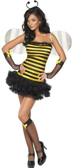 4 Piece Bumble Bee Bug Hen Fancy Dress Tutu Costume Wings Stocking Size 8-10 S