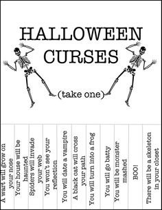 Halloween Curses (from Can't Stop Making Things) Halloween Labels, Fete Halloween, Halloween Signs, Holidays Halloween, Halloween Crafts, Happy Halloween, Halloween Decorations, Halloween Ideas, Halloween Queen