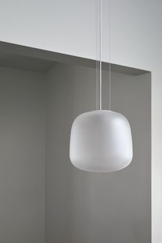 AB Pendant from Citta Design - frosted, small. $440 each White Led Lights, Organic Form, White Lead, 3d Design, Green And Grey, Ceiling Lights, Lighting, Pendant, Glass