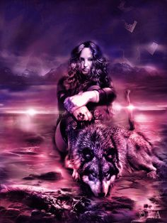 wolf,skies.warrior,woman,pink,eyes,sword,rock,sea,fantasu,