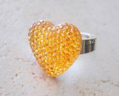 Heart Ring, Valentine's Day, Amber Crystal, Warm Citrine Silver Band. $14.00, via Etsy.