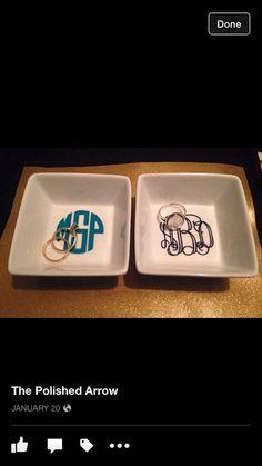"3"" Monogrammed Ring Dish."