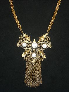 Joseff Hollywood Jewelled Filigree Fringe Necklace