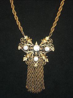 Joseff Hollywood Jewelled Filigree Fringe Necklace