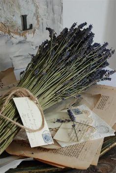 tying up some lavender to dry..........