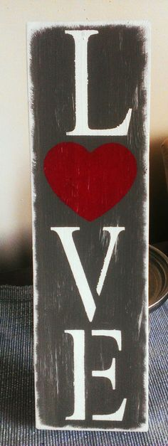 """PRIMITIVE FARMHOUSE SHABBY WOOD """"LOVE"""" SIGN VALENTINES DAY WEDDING PHOTO PROP in Antiques, Primitives 