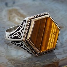 925 Sterling Silver Mens Ring with Tiger Eye Turkish Craftmanship #KaraJewels #Turkishdesign