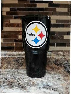 Steelers Black Tumbler Ozark RTIC And YETI Stainless Powder Coated Tumblers