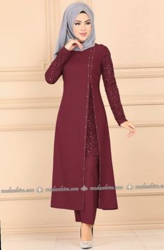 Stamp Sequined Hijab Evening Dress Suit Claret Red - Sequined Veiling Evening Dress Set Claret Red, to # the - Indian Gowns Dresses, Pakistani Dresses, Women's Dresses, Indian Anarkali, Abaya Fashion, Muslim Fashion, Fashion Dresses, Fashion Styles, Fashion Fashion