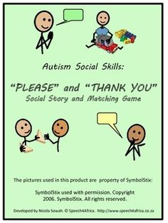 Autism Social Skills: Please and Thank You Social Story and Matching Game This product is intended to create awareness about why and when to say p. Social Skills Autism, Social Skills Activities, Autism Resources, Speech Language Therapy, Speech And Language, Music Therapy, Behavior Interventions, Create Awareness, Social Stories