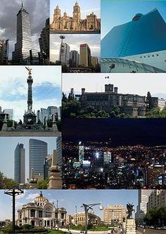 Cd. de México Desde arriba a la izquierda: la Torre Latinoamericana, la Catedral de México, la Torre Reforma, el World Trade Center Ciudad de México, el Ángel de la Independencia, el Castillo de Chapultepec, la Torre ST Regis y la Torre Mayor en el paseo de la Reforma, el paseo de la Reforma de noche y panorámica de la Plaza de Bellas Artes.