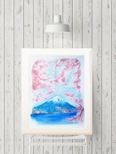 Mount Fuji in spring Cherry blossoms  Original Watercolour painting Original artwork Fine art Wall art Japanese art Home decor by MusettayMimi on Etsy