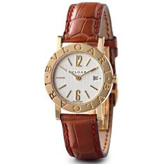 Pre-owned Gold watch with leather bracelet (32,260 AED) ❤ liked on Polyvore featuring jewelry, watches, gold, gold jewellery, gold wrist watch, dial watches, gold watches and leather-strap watches