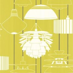 Harlequin's Illuminate- A retro selection of stylized lampshades, in a palette of '50s Lime, White and Slate.