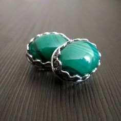 Earrings malachite Green Natural stone Silver ring Carved frame Russian Free shipping