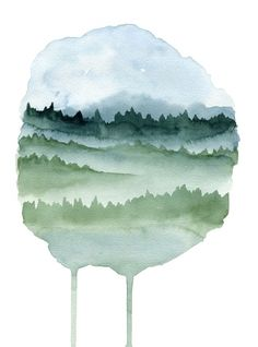 Northern mist - Watercolor painting created by the Swedish artist Emma Andersson. Shop: https://www.etsy.com/ca/shop/greenfoxart/items