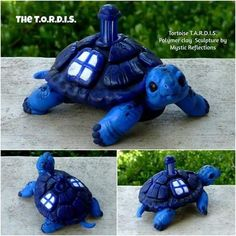 Handmade one of a kind Dr Who T.A.R.D.I.S. Tortoise polymerclay sculpture by Mystic Reflections Polymer Clay Sculptures, Polymer Clay Creations, Sculpture Clay, Magical Monster, Doctor Who Craft, Clay Animals, Resin Crafts, Diy Crafts, Clay Charms