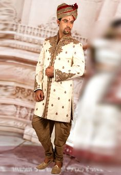Buy Cream Brocade Readymade Dhoti Sherwani 204357 online at lowest price from our mens wear collection at Indianclothstore.com. Wedding Sherwani, Hip Hip, How To Dye Fabric, Color Shades, Lehenga Choli, Snug, Tights, Menswear, Cream