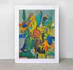 Original Painting   SUNFLOWERS    Wind . by ARTGALERYPAINTING, $400.00  Found on Etsy.com. I love the colors.