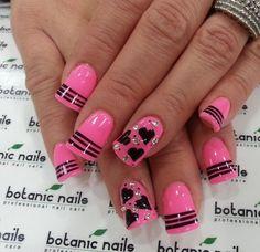#nailart #pink #black