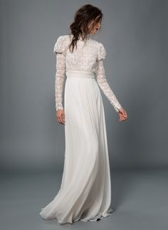 Lace and Chiffon High Neck Czarina Sleeve Gown with Pearl Encrusted Bodice in Snow/Nude | Tadashi Shoji