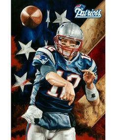 """Football Player Tom Brady """"Unstoppable"""" Canvas Painting. Edition Size: 99 Pieces. Size: 24"""" x 36"""" ~Done By Artist Justyn Farano~"""