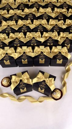 Black & Gold wedding favor gift box with satin ribbon bow and names, Elegant bonbonniere for candies for wedding guests. #welcomebox #giftbox #personalizedgifts #weddingfavor #weddingbox #weddingfavorideas #bonbonniere #weddingparty #sweetlove #favorboxes #candybox #elegantwedding #partyfavor #weddingwelcome #goldwedding #blackandgold #gatsbywedding #gatsby #uniqueweddingfavors