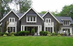Grey and White for our exterior paint. Love this color of grey, not as dark as charcoal but darker than a taupe
