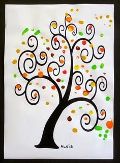 Chrys's Journal: Fall in kindergarten Crafts For Teens, Diy For Kids, Arts And Crafts, Thanksgiving Crafts, Fall Crafts, Button Tree Art, Bricolage Halloween, Fingerprint Art, Sgraffito