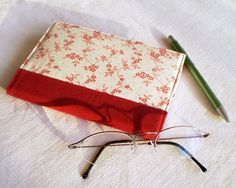 Fabric Journal Cover - Red Cherry Blossom - Handmade Fabric Covered A6 Notebook, Diary - Burgundy Japanese Flowers, via Etsy.