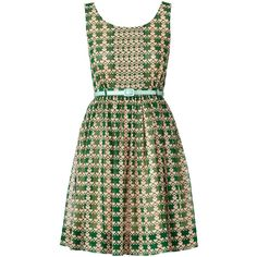 Orla Kiely Houndstooth Heart Sundress (935 BRL) ❤ liked on Polyvore featuring dresses, vestidos, jade, green dress, heart print dress, rouched dress, sun dress and hounds tooth dress
