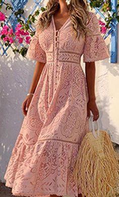 Bohemian Summer Dresses, Lace Summer Dresses, Simple Dresses, Elegant Dresses, Pretty Dresses, Lace Dress, Casual Dresses, Fashion Dresses, Sexy Dresses